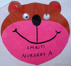 teddy bear bird name tag for preschool