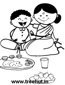 Indian mother and child meal time coloring page