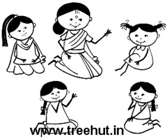 Indian primary school teacher teaching girls coloring page