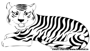 Save tiger in India coloring page