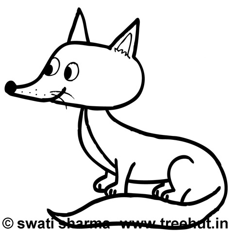 Fox Coloring Page on animal mosaic patterns