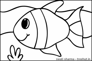 Save sea life fish coloring page