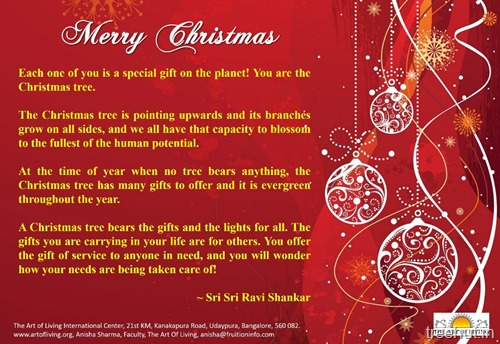 christmas quotes by sri sri ravi shankar red ornaments printable poster art of living