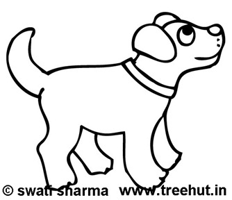 happy dog coloring page for art therapy