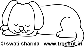 sleeping dog coloring page