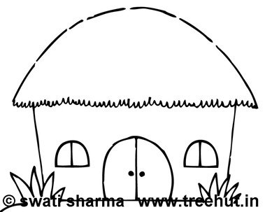 Thatched hut coloring page