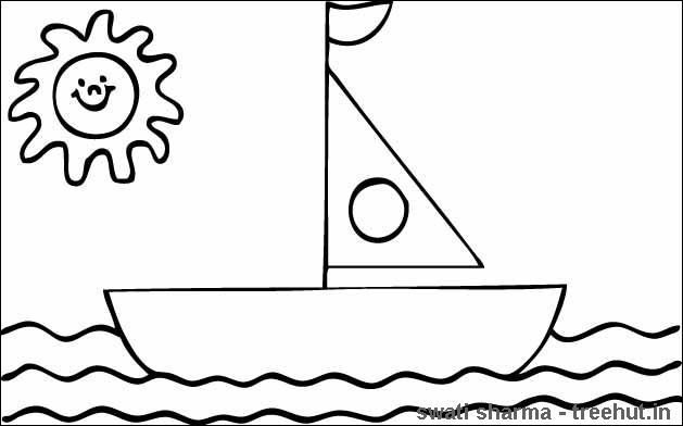 sailboat coloring page for preschool kids - Boat Coloring Pages