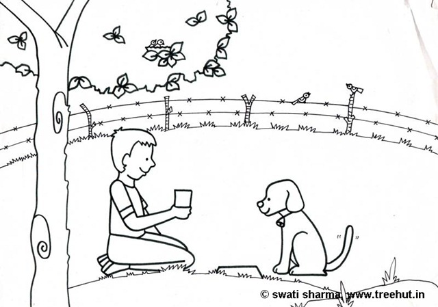 Boy With Pet Dog Coloring Page