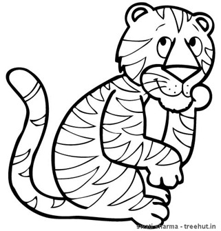 Happy Tiger coloring sheet for Art therapy