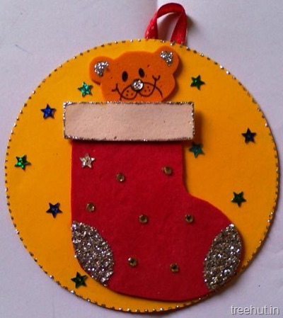 hanging cd christmas craft stocking decoration diy