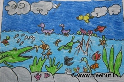 Waterscape in crayons by child artist Divyanshi Kaul Study Hall school Lucknow India