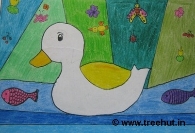 Duck in crayons by child artist Divyanshi Nigam Study Hall school Lucknow India