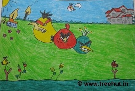 Angry Birds in Child art by Ishan Singh Study Hall school Lucknow India