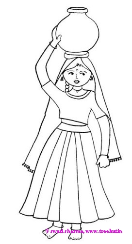 Indian girl fetching water in a pot Rajasthan coloring page