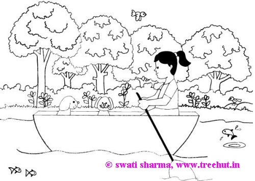 girl rowing a boat coloring page