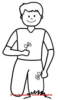 boy in the garden coloring page