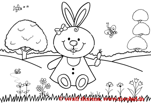 Bunny rabbit coloring sheet for art therapy