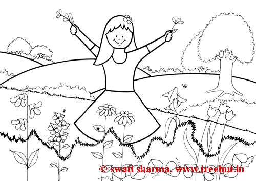 Garden coloring page for art therapy