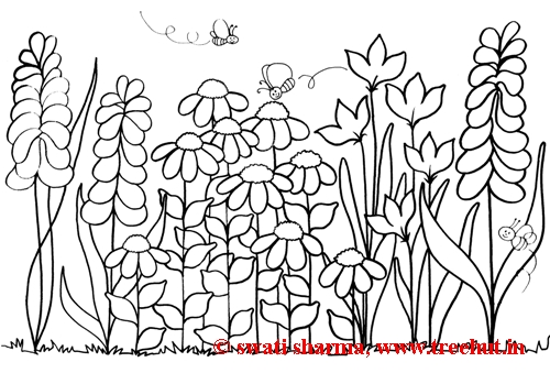Garden theme coloring page for adult art therapy