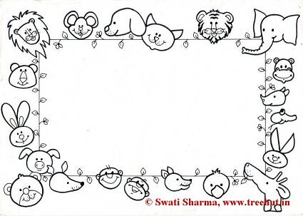 Animals Picture frame coloring page for art therapy