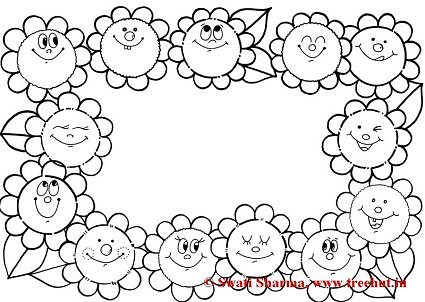 Floral Picture frame coloring page for art therapy