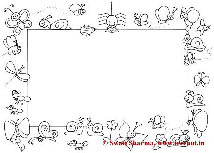 Garden bugs Picture frame coloring page for art therapy