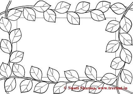 Leaves Picture frame coloring page for art therapy