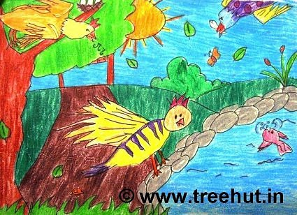 Bird life in crayons by primary school student, Lucknow