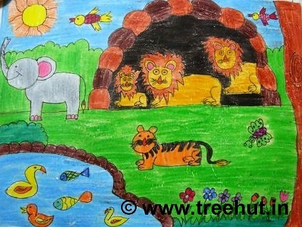 Jungle safari in crayon art for therapy