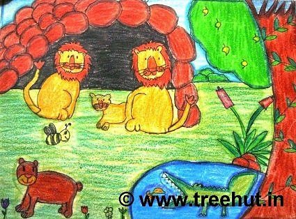 Lions art work in crayons by primary school student Study Hall, Lucknow