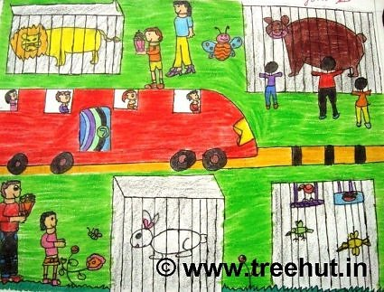 zoo in crayons by primary school student, Lucknow, India