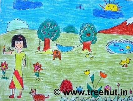 Landscape in crayons by child, Lucknow, India
