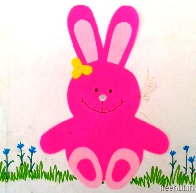 Sitting Pink Easter Bunny Kids Crafts For Preschool Toddlers