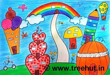 Child art, Rainbow Cityscape in crayon colors
