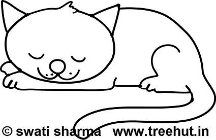 Sleepy cat, coloring sheet for adults, Art therapy