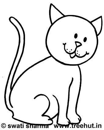 Coloring page, Curious cat