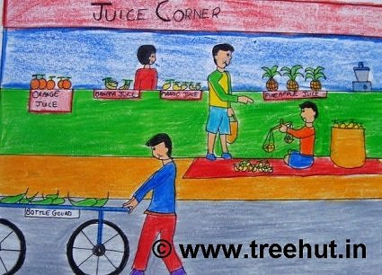 Picnic in Lucknow, Crayon art, India