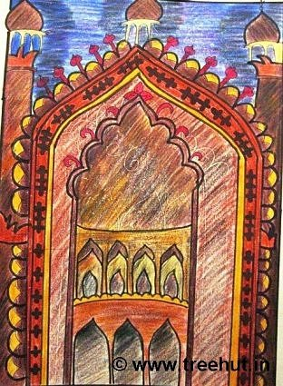 Rumi gate, Lucknow in crayon art, India