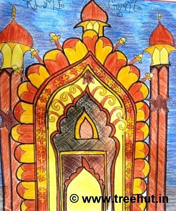 Rumi gate art in crayons