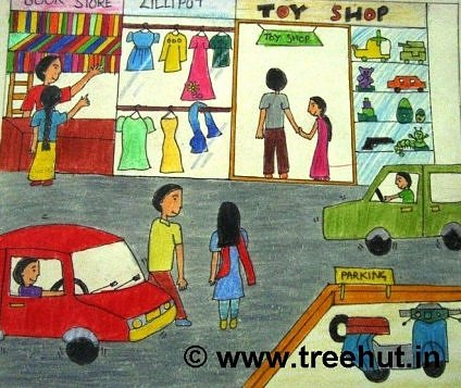 Shopping in Lucknow, Crayon art