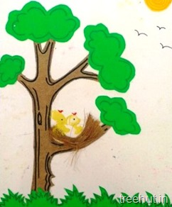 paper baby bird kids craft for preschool