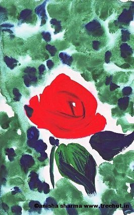 Gorgeous Water color red rose by Anisha Sharma