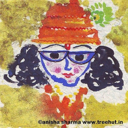 Krishna in Water color by Anisha Sharma