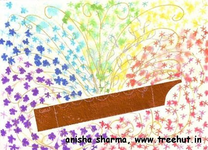 Krishna flute in Holi art idea Indian festival