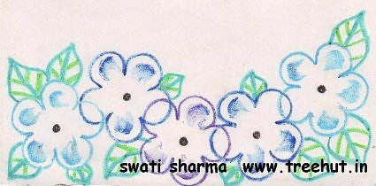 stencil floral art idea with crayon colors