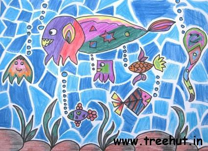 Sealife art by child Muskaan Gupta