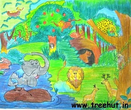 Jungle scene by child artist Devanshi Srivastava