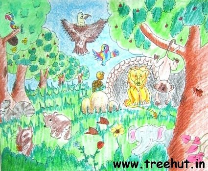 Jungle scene by child artist Enakshi Rastogi