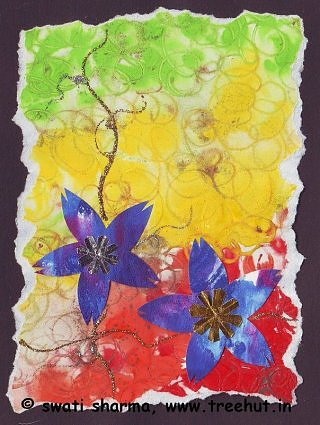 Floral paper collage and water color art idea