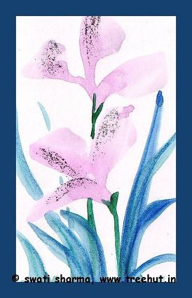 Mauve water color flowers art idea